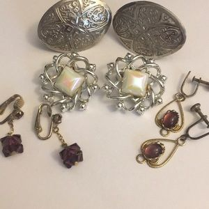 4 sets vintage antique screw back and clip earring